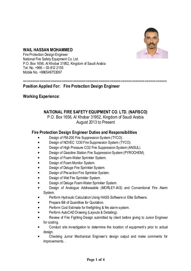 Fire Safety Engineer Sample Resume defence engineer cover letter certified fire protection engineer civil engineering resume cover letter write my admission Wail Hassan Mohammed Fire Protection Design Engineer National Fire Safety Equipment Co