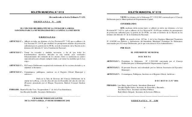 BOLETÍN MUNICIPAL N º 0119 3 (Reconsiderada en Sesión Ordinaria N° 653) O R D E N A N Z A N° 3.352 EL CONCEJO DELIBERANTE ...
