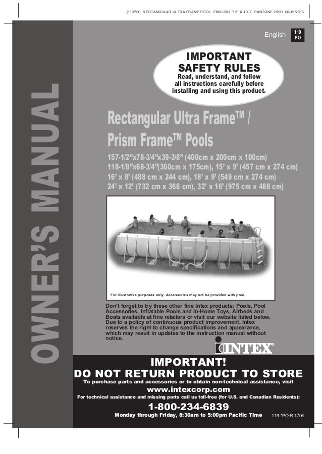 20 Page Manual For Intex Rectangular Ultram Frame And
