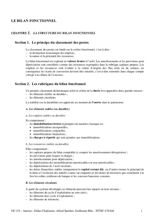LE BILAN FONCTIONNELCHAPITRE 1. LA STRUCTURE DU BILAN FONCTIONNEL  Section 1. Le principe du classement des postes        ...