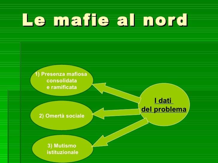 Le mafie al nor d 1) Presenza mafiosa      consolidata      e ramificata                           I dati                 ...