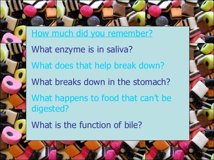 How much did you remember? What enzyme is in saliva? What does that help break down? What breaks down in the stomach? What...