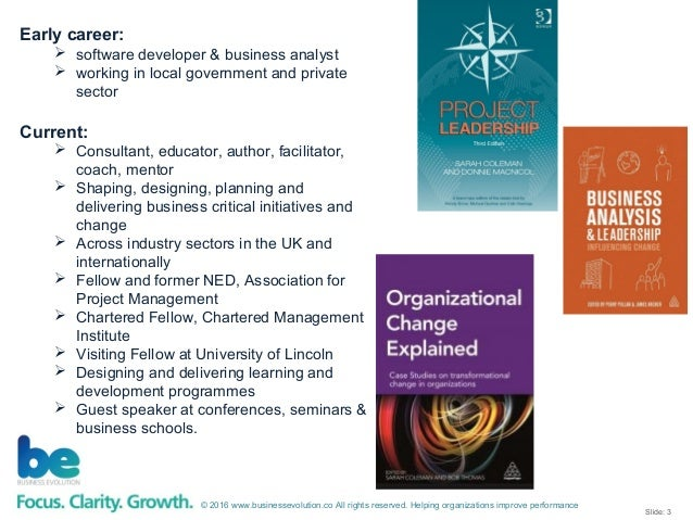 Project Leadership - Third Sector Project Management Forum - September 2016 Slide 3