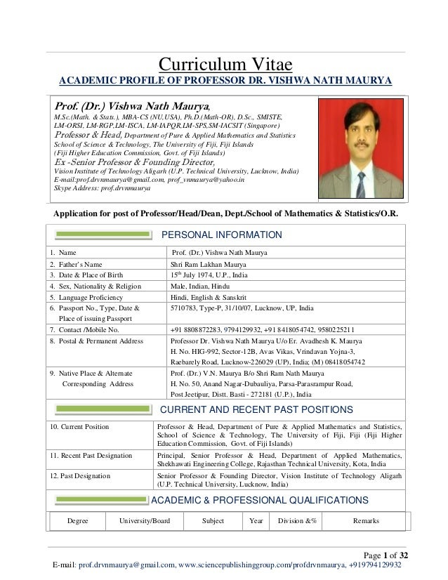 CV of Prof. _Dr._ Vishwa Nath Maurya for post of Professor ...