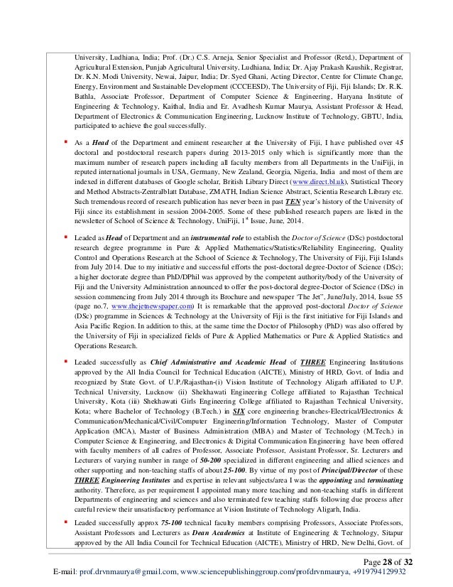 cv of prof   dr   vishwa nath maurya for post of professor