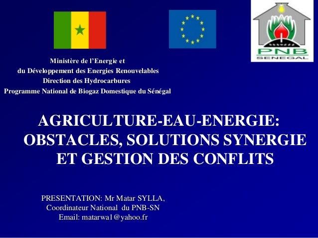 AGRICULTURE-EAU-ENERGIE: OBSTACLES, SOLUTIONS SYNERGIE ET GESTION DES CONFLITS PRESENTATION: Mr Matar SYLLA, Coordinateur ...