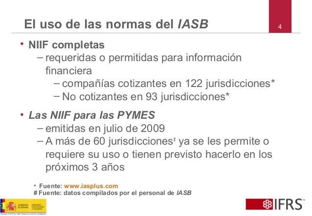 El uso de las normas del IASB • NIIF completas – requeridas o permitidas para información financiera – compañías cotizante...