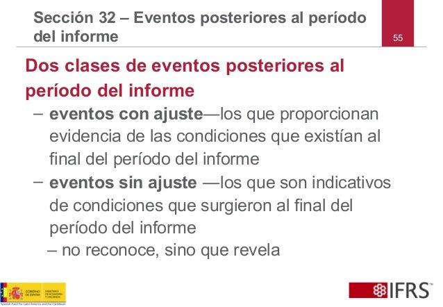 55 Sección 32 – Eventos posteriores al período del informe Dos clases de eventos posteriores al período del informe – even...