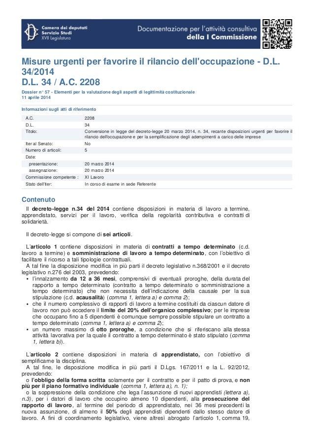 Misure urgenti per favorire il rilancio dell'occupazione - D.L. 34/2014 D.L. 34 / A.C. 2208 Dossier n° 57 - Elementi per l...