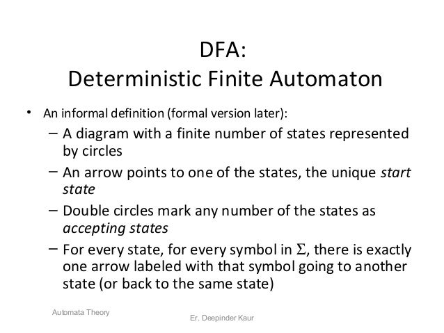 DFA: Deterministic Finite Automaton • An informal definition (formal version later): – A diagram with a finite number of s...