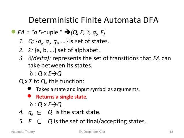 """Deterministic Finite Automata DFA FA = """"a 5-tuple """" (Q, Σ, , q0, F) 1. Q: {q0, q1, q2, …} is set of states. 2. Σ: {a, b..."""