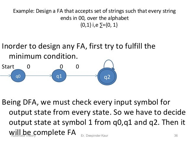 Example: Design a FA that accepts set of strings such that every string ends in 00, over the alphabet {0,1} i,e ∑={0, 1} I...