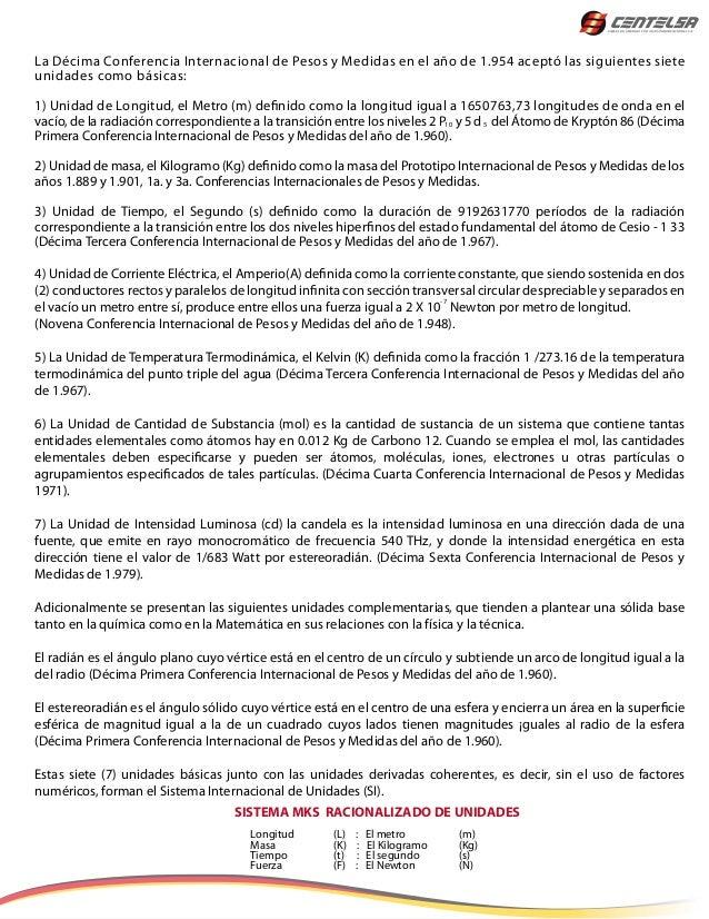 La Décima Conferencia Internacional de Pesos y Medidas en el año de 1.954 aceptó las siguientes sieteunidades como básicas...