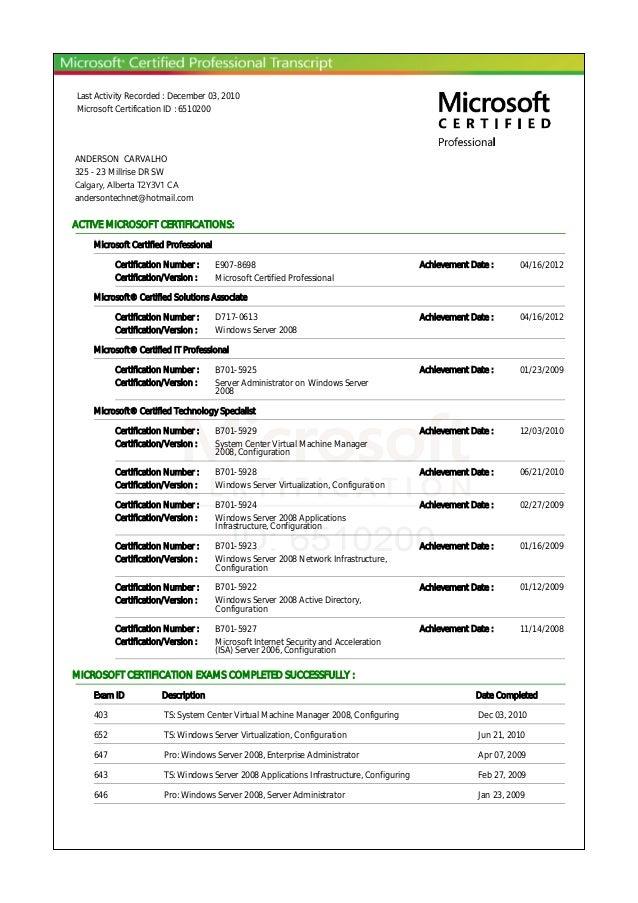 Microsoft Certified Professional Transcriptpdf