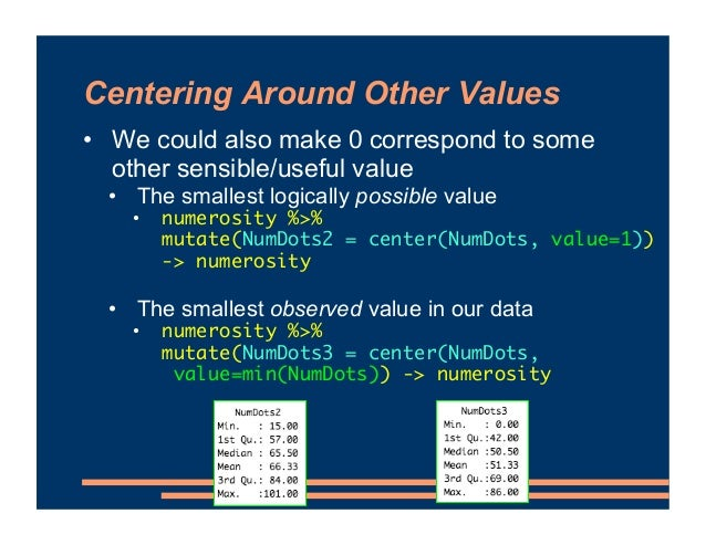 Centering Around Other Values • We could also make 0 correspond to some other sensible/useful value • The smallest logical...