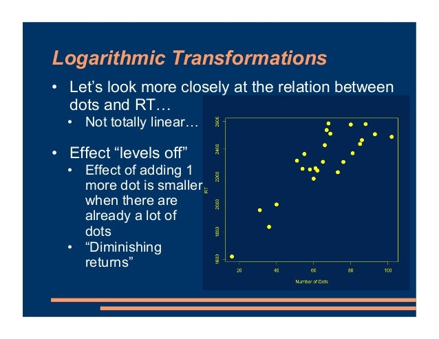 Logarithmic Transformations • Let's look more closely at the relation between dots and RT… • Not totally linear… • Effect ...