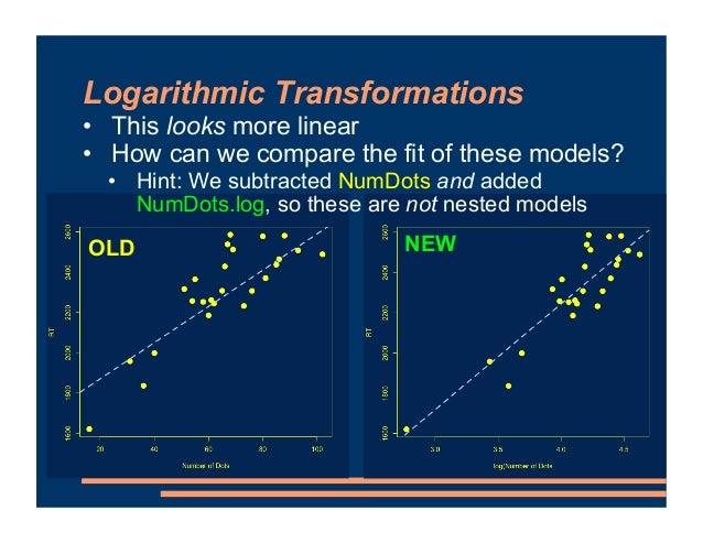 Logarithmic Transformations • This looks more linear • How can we compare the fit of these models? • Hint: We subtracted N...