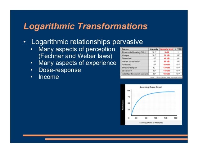 Logarithmic Transformations • Logarithmic relationships pervasive • Many aspects of perception (Fechner and Weber laws) • ...