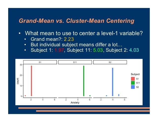 • What mean to use to center a level-1 variable? • Grand mean?: 2.23 • But individual subject means differ a lot… • Subjec...