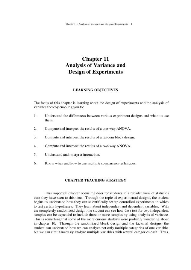 Chapter 11: Analysis of Variance and Design of Experiments 1 Chapter 11 Analysis of Variance and Design of Experiments LEA...