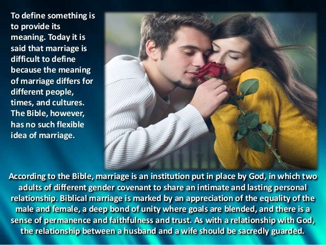 a personal opinion on the institution of christian marriage Find a training center find a counselor my store account 0 items - $  for  40 years, the association of certified biblical counselors (acbc) has  these  resources are for pastors, professors, and other christian servants who desire to  be trained in their gospel-responsibility to be disciple-makers view all  resources.