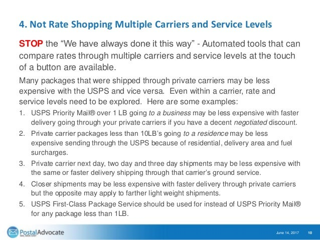 """4. Not Rate Shopping Multiple Carriers and Service Levels STOP the """"We have always done it this way"""" - Automated tools tha..."""