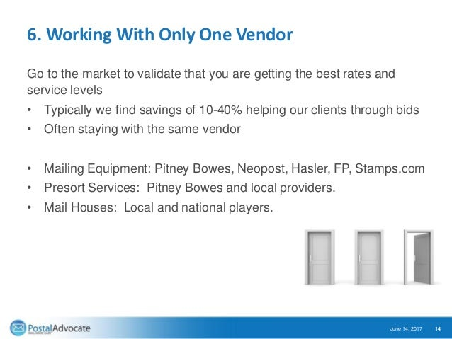 6. Working With Only One Vendor Go to the market to validate that you are getting the best rates and service levels • Typi...