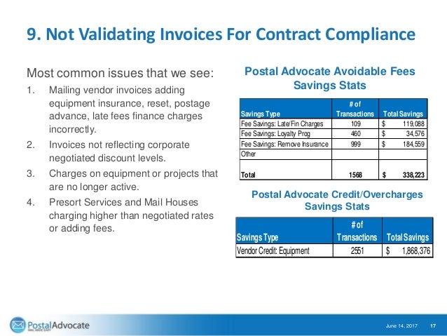 9. Not Validating Invoices For Contract Compliance Most common issues that we see: 1. Mailing vendor invoices adding equip...