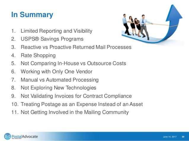 In Summary 1. Limited Reporting and Visibility 2. USPS® Savings Programs 3. Reactive vs Proactive Returned Mail Processes ...