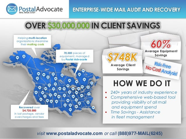 Helping multi-location organizations streamline their mailing costs 70,000 pieces of equipment, managed by Postal Advocate...