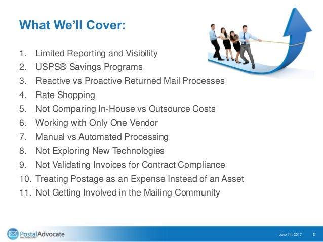What We'll Cover: 1. Limited Reporting and Visibility 2. USPS® Savings Programs 3. Reactive vs Proactive Returned Mail Pro...