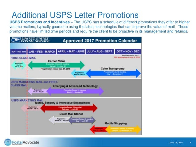 Additional USPS Letter Promotions June 14, 2017 7 USPS Promotions and Incentives – The USPS has a schedule of different pr...