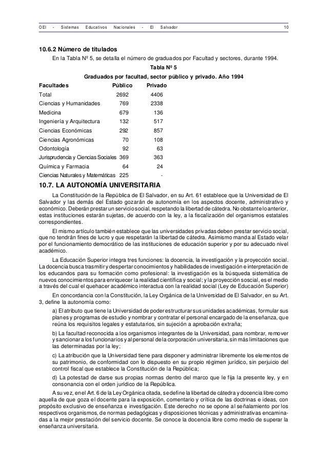 OEI - Sistemas Educativos Nacionales - El Salvador 10  10.6.2 Número de titulados  En la Tabla Nº 5, se detalla el número ...