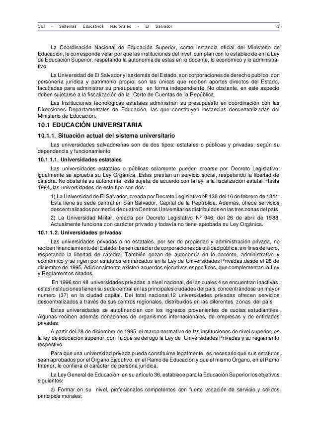 OEI - Sistemas Educativos Nacionales - El Salvador 3  La Coordinación Nacional de Educación Superior, como instancia ofici...