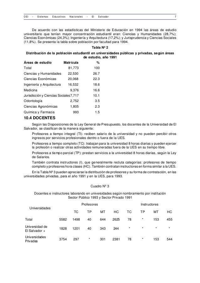 OEI - Sistemas Educativos Nacionales - El Salvador 7  De acuerdo con las estadísticas del Ministerio de Educación en 1994 ...