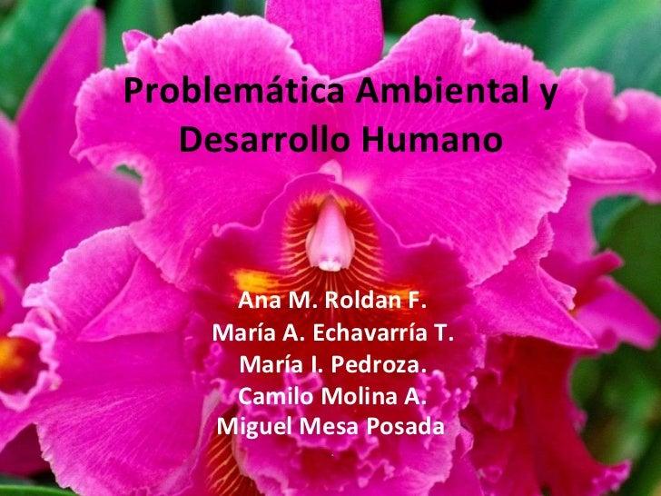 Problemática Ambiental y Desarrollo Humano Ana M. Roldan F. María A. Echavarría T. María I. Pedroza. Camilo Molina A. Migu...
