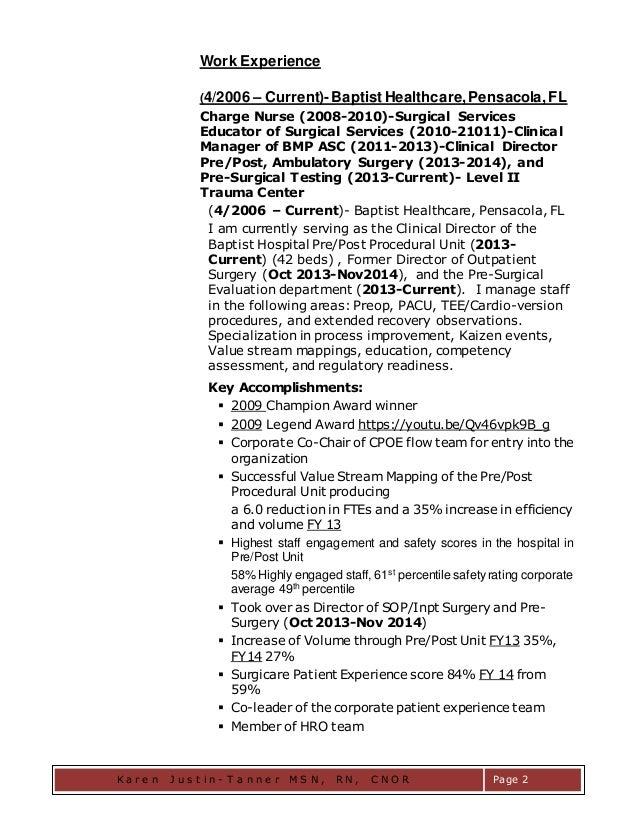 Karen Justin Tanner Sdnp Msn Rn Cnor R4t   Registered Nurse Resume Samples  Free