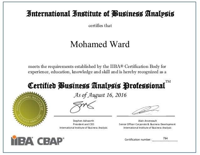 cbap certificate business certification iiba analysis international institute slideshare upcoming