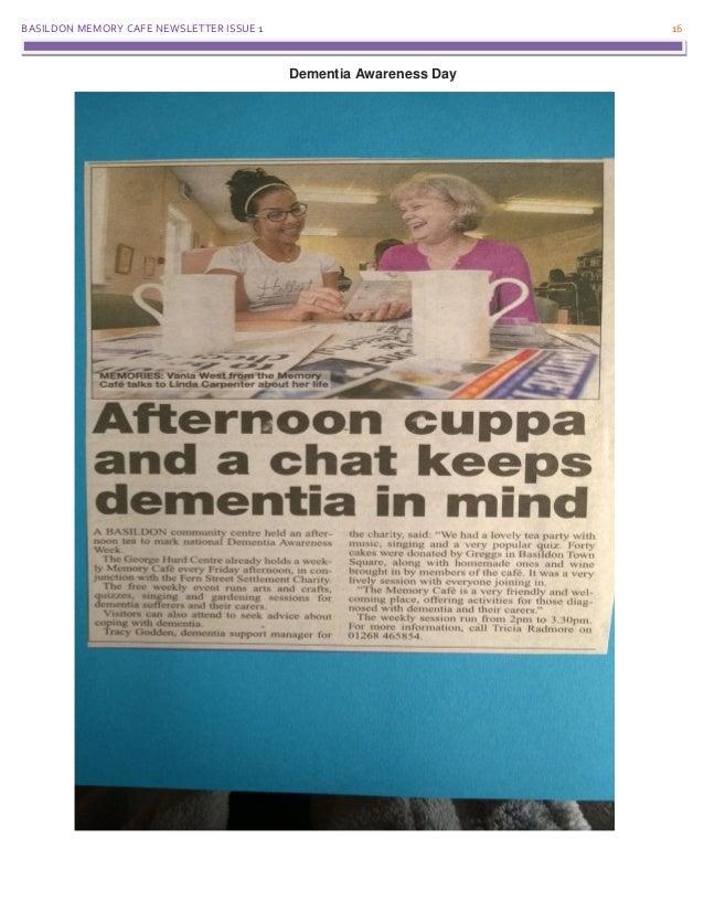 BASILDON MEMORY CAFE NEWSLETTER ISSUE 1 16 Dementia Awareness Day