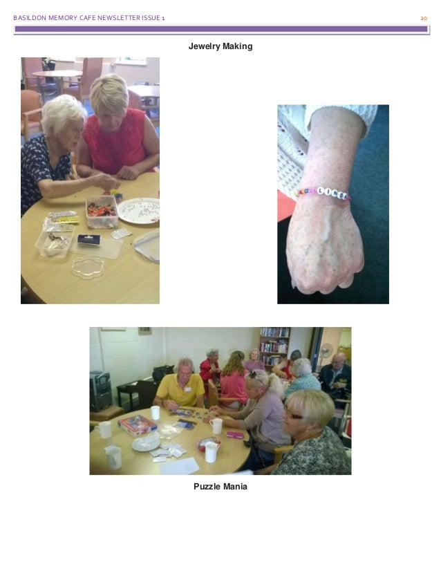 BASILDON MEMORY CAFE NEWSLETTER ISSUE 1 20 Jewelry Making Puzzle Mania