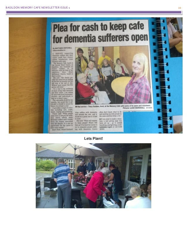 BASILDON MEMORY CAFE NEWSLETTER ISSUE 1 22 Lets Plant!