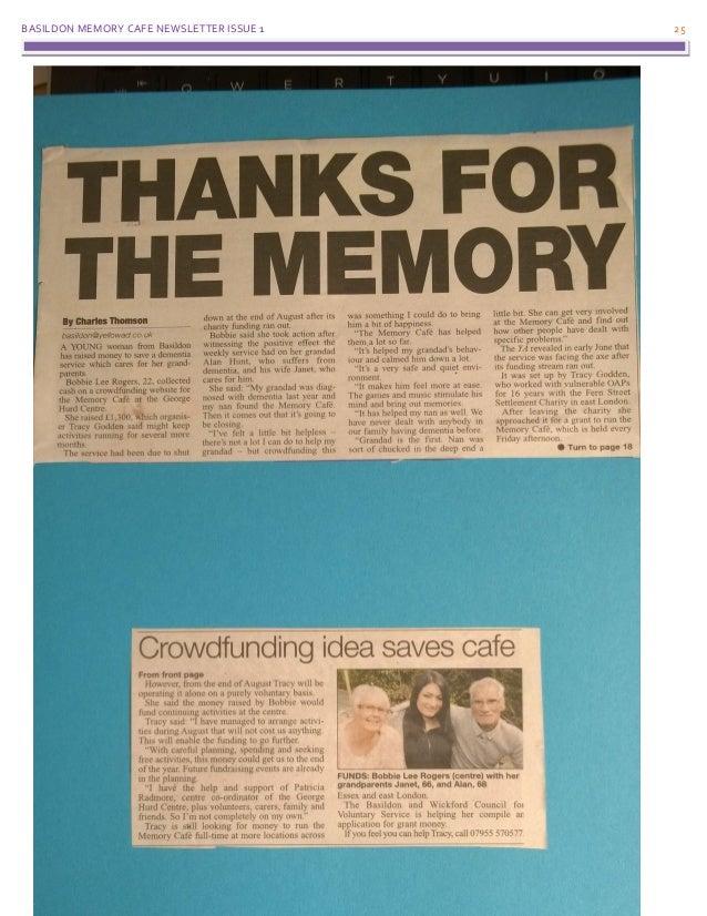 BASILDON MEMORY CAFE NEWSLETTER ISSUE 1 25