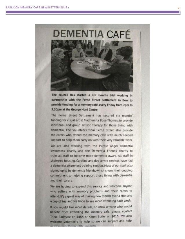BASILDON MEMORY CAFE NEWSLETTER ISSUE 1 7