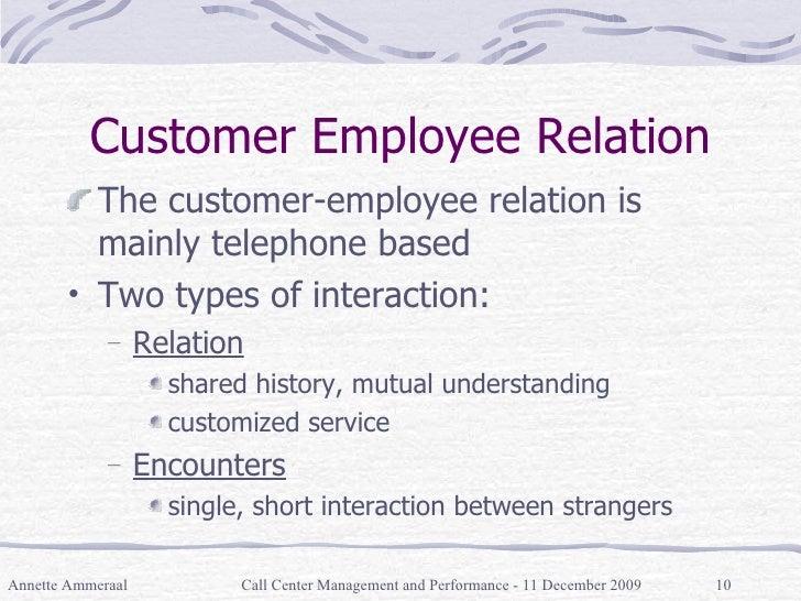 Customer Employee Relation <ul><li>The customer-employee relation is mainly telephone based  </li></ul><ul><li>Two types o...