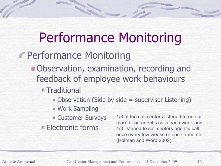 Performance Monitoring <ul><li>Performance Monitoring </li></ul><ul><ul><li>Observation, examination, recording and feedba...