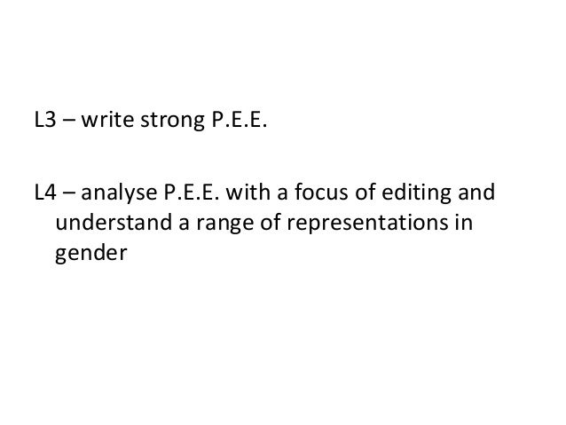 L3 – write strong P.E.E.L4 – analyse P.E.E. with a focus of editing and  understand a range of representations in  gender