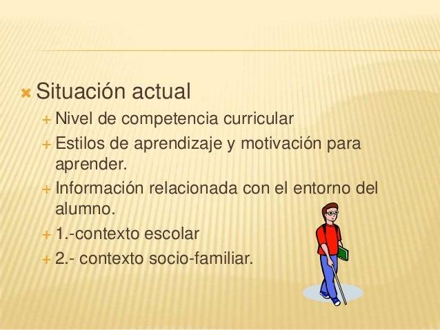  Situación actual Nivel de competencia curricular Estilos de aprendizaje y motivación paraaprender. Información relaci...