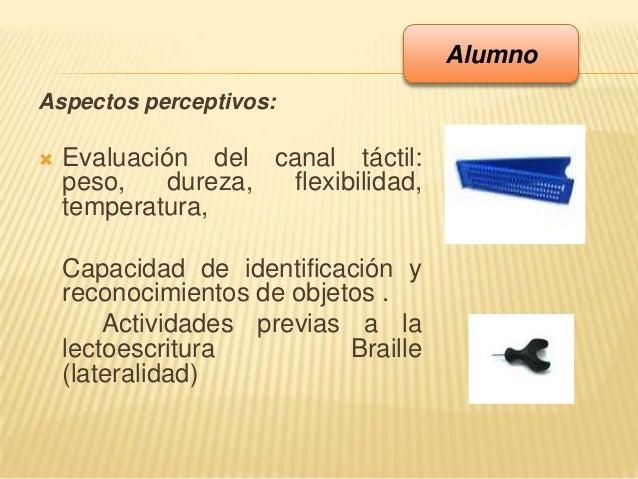 Aspectos perceptivos: Evaluación del canal táctil:peso, dureza, flexibilidad,temperatura,Capacidad de identificación yrec...