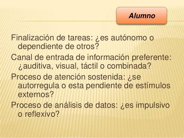 Finalización de tareas: ¿es autónomo odependiente de otros?Canal de entrada de información preferente:¿auditiva, visual, t...