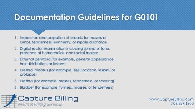 11 Documentation Elements for Medicare G0101